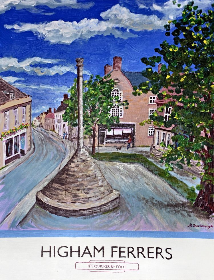 Higham Ferrers 'It's Quicker by foot' acyrlic town poster prints cards