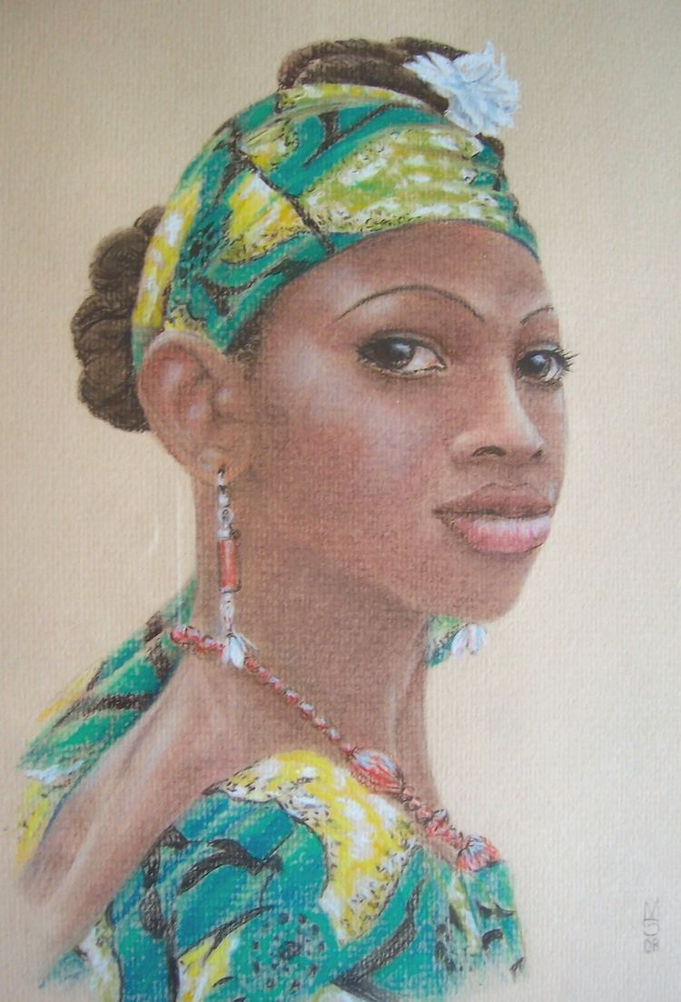Un regarde, Lady in green, pastel