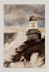 Lighthouse in Storm (sold)