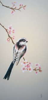 Long tailed tit on Cherry Plum