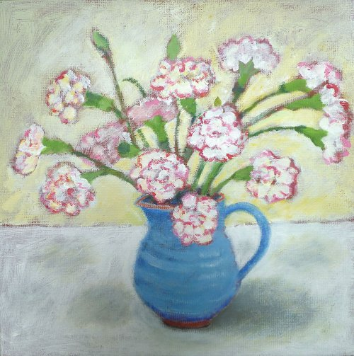 Carnations in the little Blue Jug