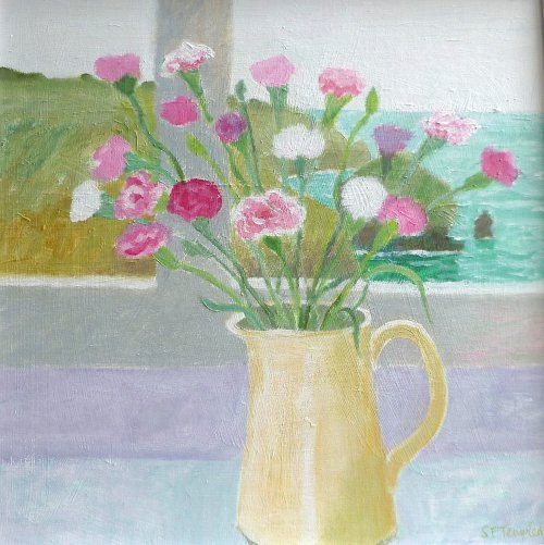 Carnations in the cream jug