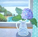 Hydrangea in the striped jug
