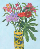 Mixed Flowers in Yellow Vase