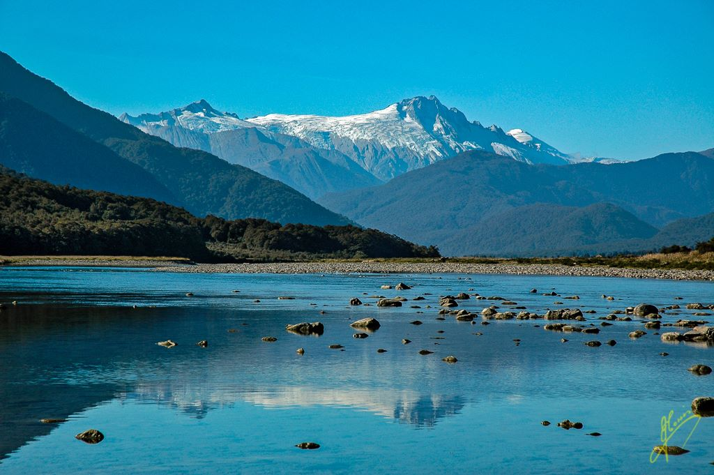 Mount Cook from Pleasant Flats, Southern Alps.
