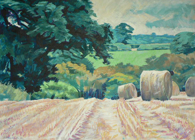 Bales in the Esk Valley. Acrylic