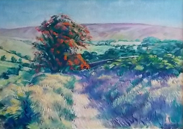 Heavy laden Hawthorn above Danby. Oil