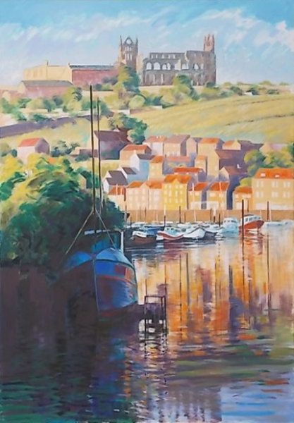 Whitby, a mid summer evening. Large oil.