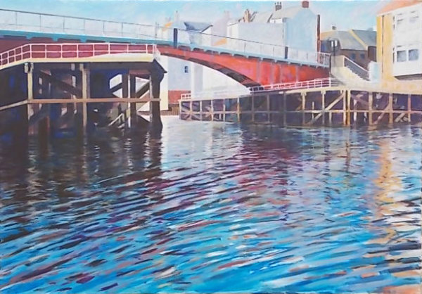 Whitby Swing Bridge Evening. Large oil.