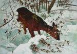 Deer in deep snow. Acrylic