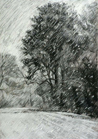 The Blizzard. Conte drawing.
