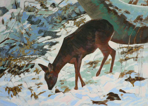 Winter light and Deer. Acrylic