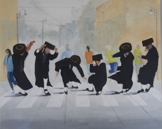 Chassidim celebrating after lockdown (SOLD)