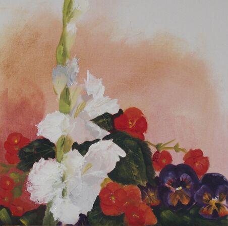 Gladioli, begonia and pansies