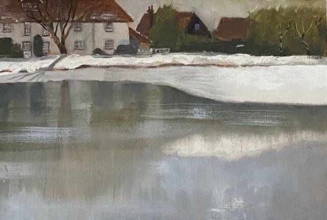Part Frozen Duck Pond in Totteridge