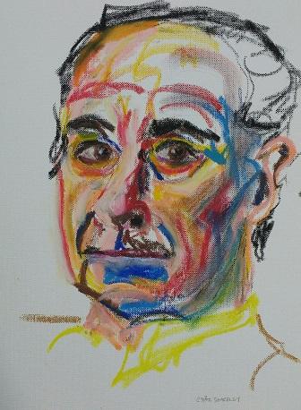 Portrait in oil pastel, Gudrun Ståhl Sharpley