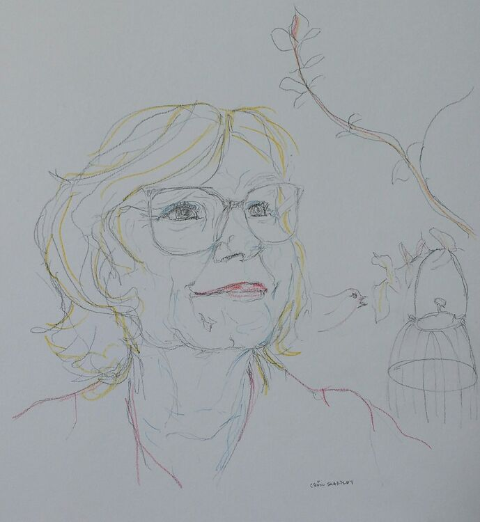 7 December 2020:  Number 2, Lesley Garrett, pencil on paper, 20x20cm