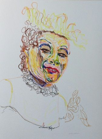 Portrait in oil pastel