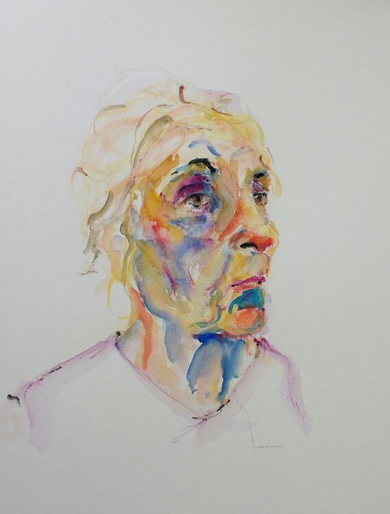 Dame of Inspiration, 30x40cm watercolour on paper