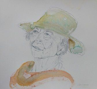Portrait in silverpoint and watercolour, Gudrun Ståhl Sharpley