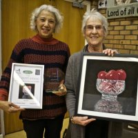 Christine Thomas presented with publics favourite winners award by Liz Hunt