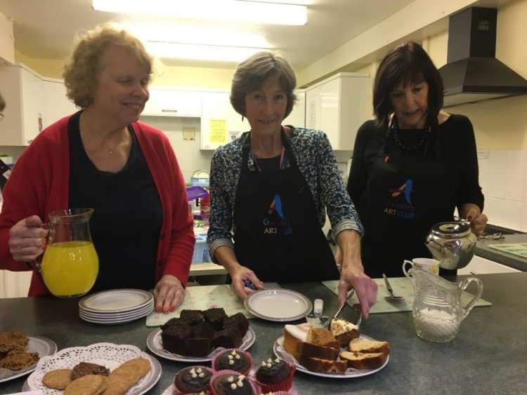 Jean, Lindsay and Annabel running the cafe exhibition 2017