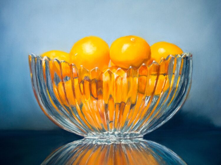 """Clementines in a Glass Bowl, 10"""" x 12"""" Pastel - Christine Thomas, Second Place"""