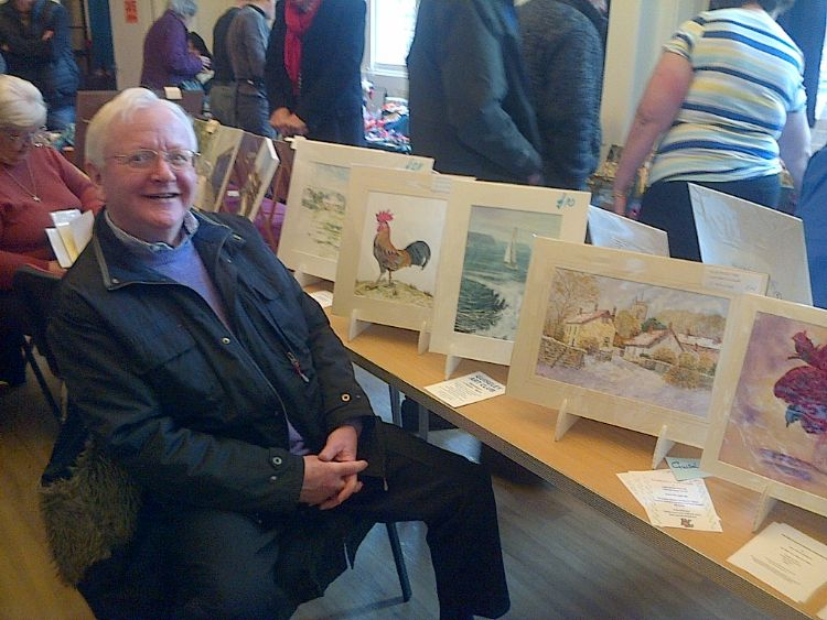 Frank manning the club stall at Guiseley Town Hall Feb 2015