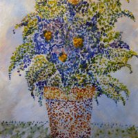 Plant in pointillism style