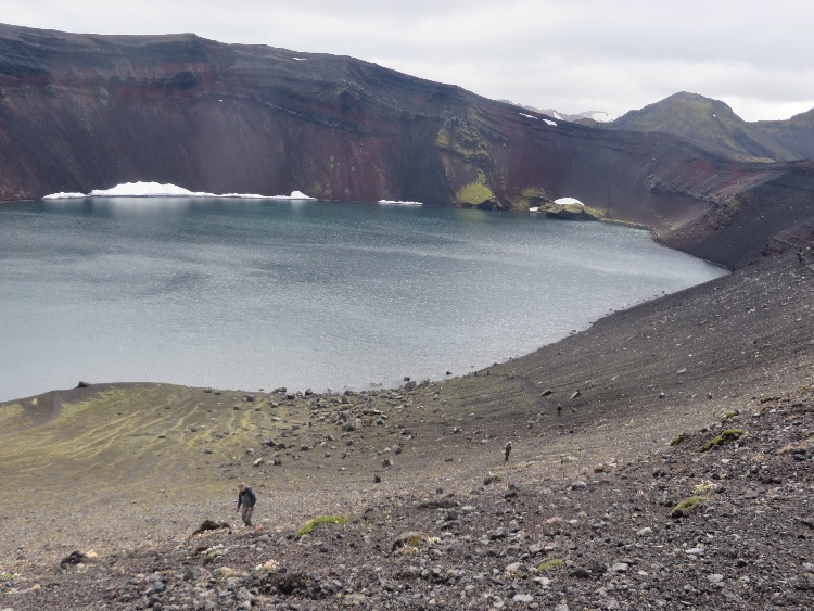 Climbing up from Lake Ljótipollur out of the volcano crater - July 2016