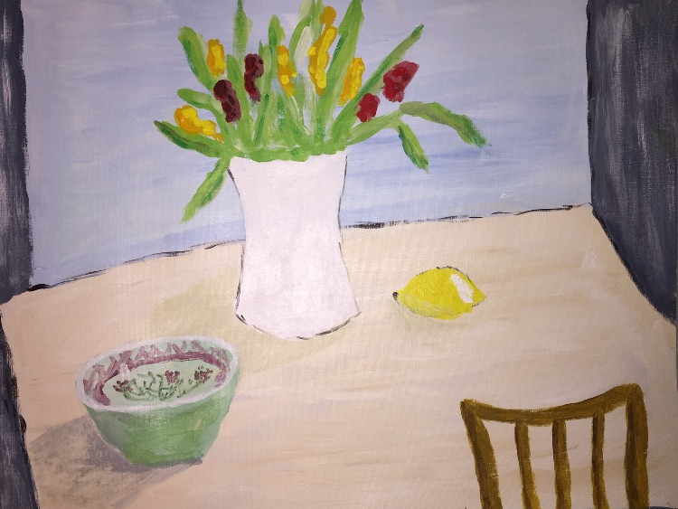 Still life with tulips and lemon