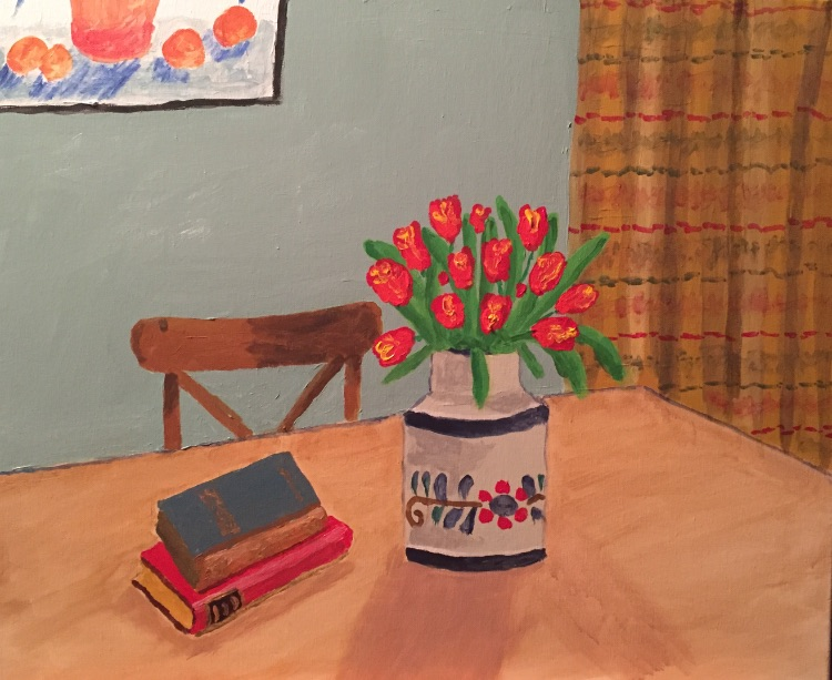 Still life with tulips and Adam's picture