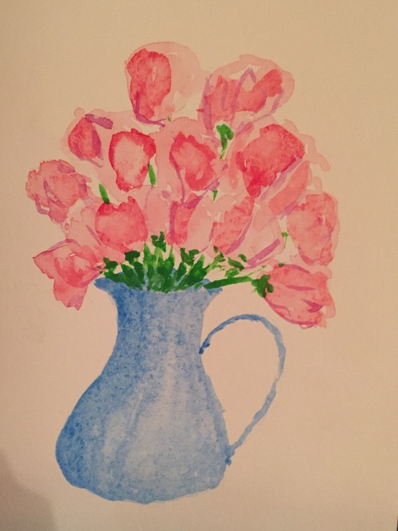 Sweet peas in a blue jug for a birthday card