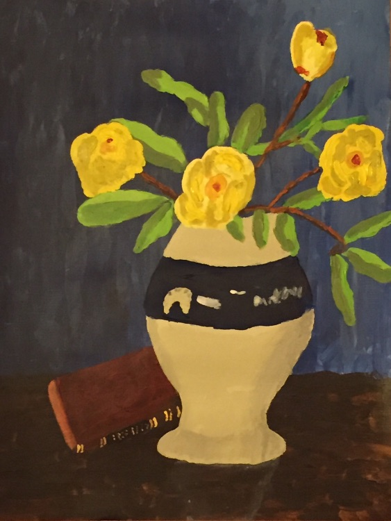 Still life with yellow poenies