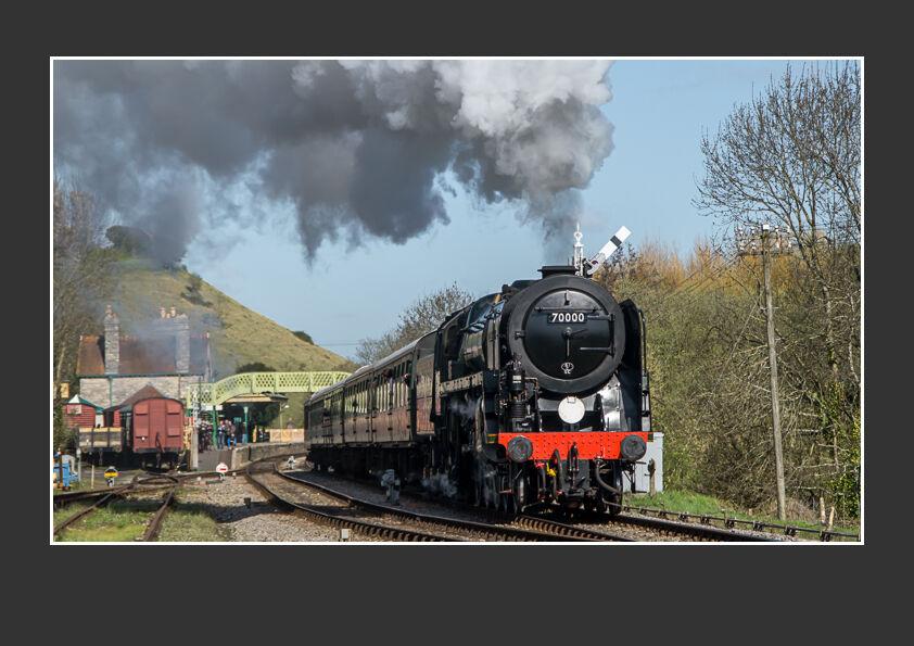 Britannia Steam Engine Leaving Corfe Castle Station