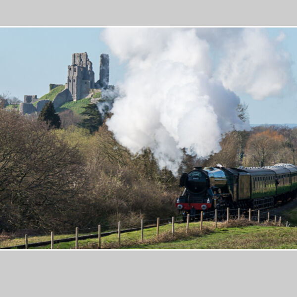Flying Scotsman Passing Corfe Castle