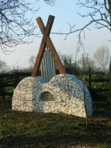 Chimes structure - Foxton Sensory Garden - 2m W x 2m H - ceramic mosaic, wooden structure and galvanised steel tube