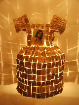 Little Girl with Veil, book pages, copper wire & found photo