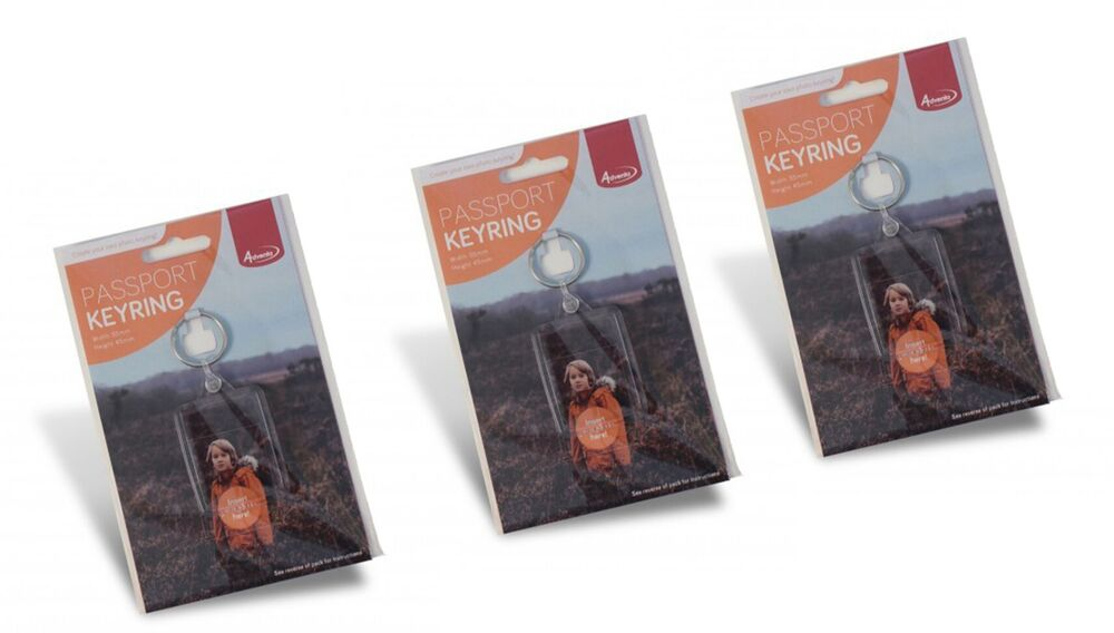 Pack of 3 Photo Passport Keyrings Special Offer