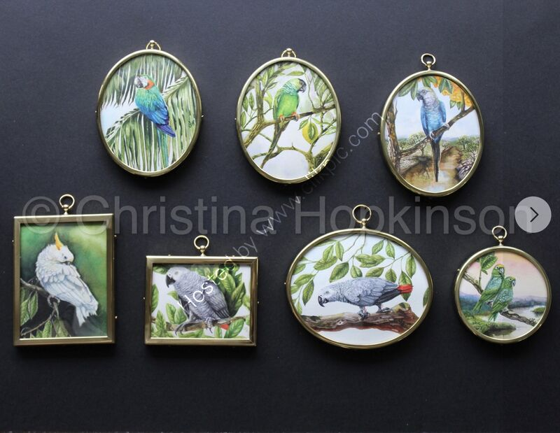 A collection of framed miniature watercolour paintings.