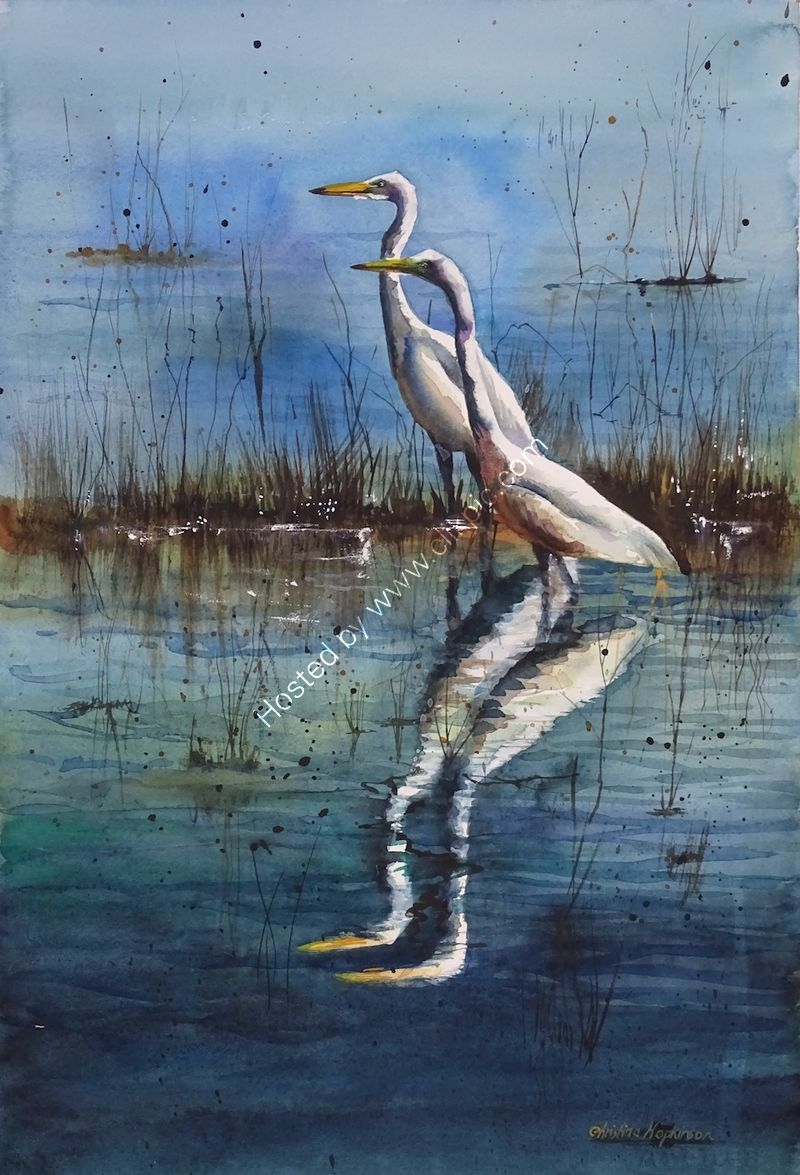 "'Egrets Fishing In Lake Myakka Florida', watercolour, unframed dimensions 21""x14"""