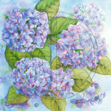 "BLUE HYDRANGEAS  Original Watercolour  £160.  Approx size 12"" x 12"""