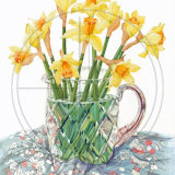 "DAFFODILS AND CRYSTAL Original Watercolour £150.  Approx size 15"" x 10.5"""
