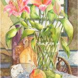 "PINK LILIES Original Watercolour £150. Approx size 15"" x 10.5"""
