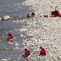 Paddling monks