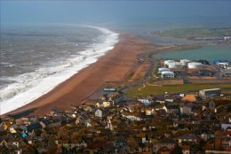 Chesil Beach - spring storm - from the hights.