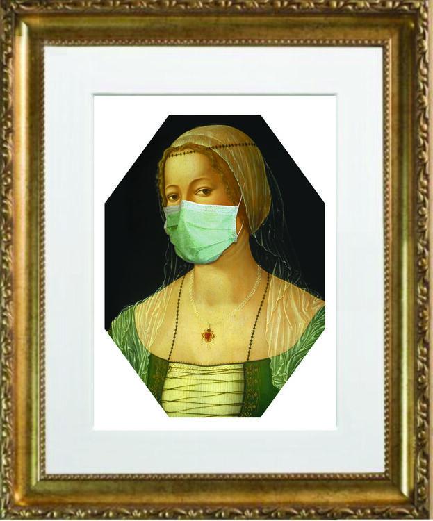 Masked Lady Gold Frame