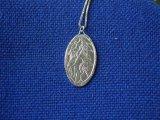 Ivy Leaves Medallion Pendant, etched design hallmarked stirling silver 2015