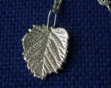 Small leaf pendant in stirling silver