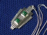 Art Deco/Geometric inspired Pendant with 2 Malachite cabouchons.